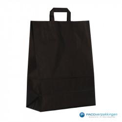 Papieren draagtassen - Zwart Kraft - Platte handgreep - Zijaanzicht achter