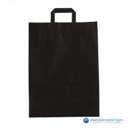 Papieren draagtassen - Zwart Kraft - Platte handgreep - Achteraanzicht