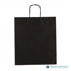 Papieren draagtassen - Zwart - Gedraaide handgreep - Vooraanzicht