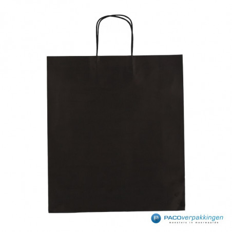 Papieren draagtassen - Zwart - Gedraaide handgreep