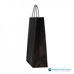 Papieren draagtassen - Zwart - Gedraaide handgreep - Zijaanzicht