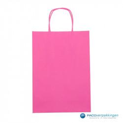 Papieren draagtassen - Hot Pink - Gedraaide handgreep - Vooraanzicht