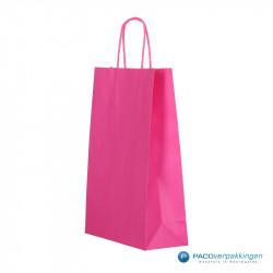Papieren draagtassen - Hot Pink - Gedraaide handgreep - Zijaanzicht voor