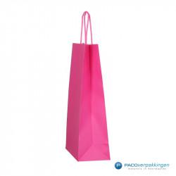 Papieren draagtassen - Hot Pink - Gedraaide handgreep - Zijaanzicht