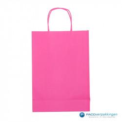 Papieren draagtassen - Hot Pink - Gedraaide handgreep - Achteraanzicht