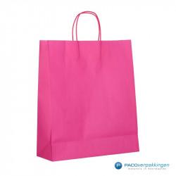 Papieren draagtassen - Hot Pink - Gedraaide handgreep - Zijaanzicht achter