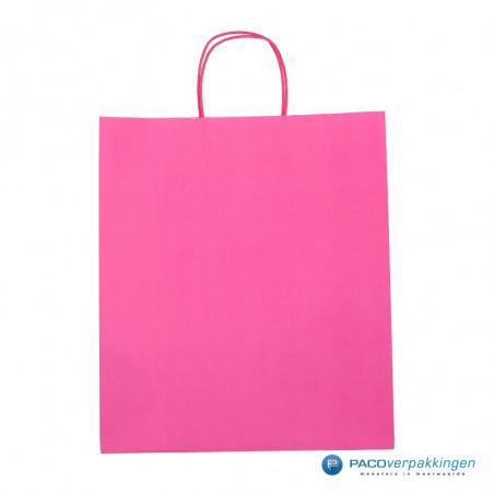 Papieren draagtassen - Hot Pink - Gedraaide handgreep