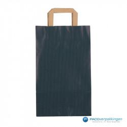 Papieren draagtassen - Blauw Kraft - Platte handgreep - Vooraanzicht