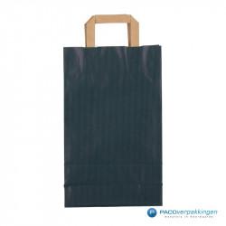 Papieren draagtassen - Blauw Kraft - Platte handgreep - Achteraanzicht