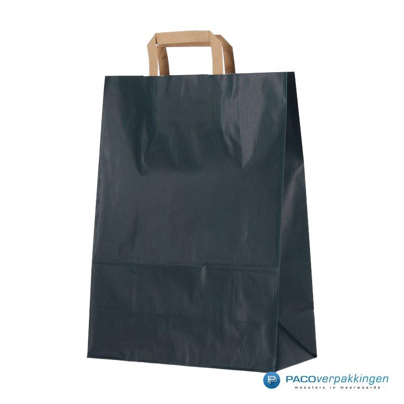 Papieren draagtassen - Blauw Kraft - Platte handgreep - Zijaanzicht voor
