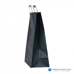 Papieren draagtassen - Blauw Kraft - Platte handgreep - Zijaanzicht