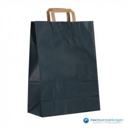 Papieren draagtassen - Blauw Kraft - Platte handgreep - Zijaanzicht achter