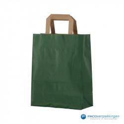 Papieren draagtassen - Groen Kraft - Platte handgreep - Zijaanzicht voor