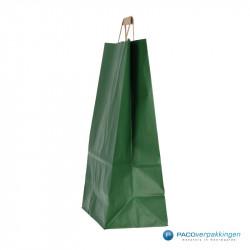 Papieren draagtassen - Groen Kraft - Platte handgreep - Zijaanzicht