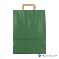 Papieren draagtassen - Groen Kraft - Platte handgreep - Achteraanzicht