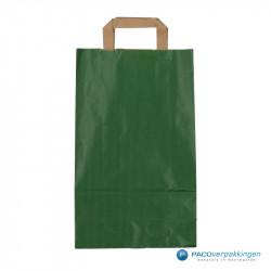 Papieren draagtassen - Groen Kraft - Platte handgreep - Vooraanzicht