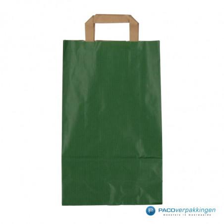Papieren draagtassen - Groen Kraft - Platte handgreep