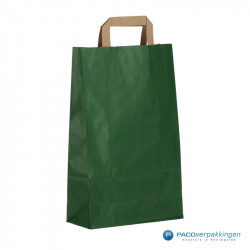 Papieren draagtassen - Groen Kraft - Platte handgreep - Zijaanzicht achter