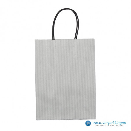 Papieren draagtassen - Zilver - Gedraaide handgreep