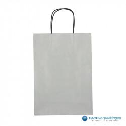 Papieren draagtassen - Zilver - Gedraaide handgreep - Vooraanzicht