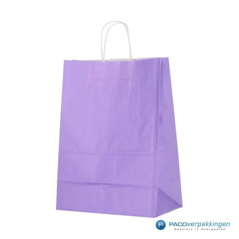 Papieren draagtassen - Lavendel - Gedraaide handgreep - Zijaanzicht voorkant