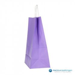 Papieren draagtassen - Lavendel - Gedraaide handgreep - Zijaanzicht