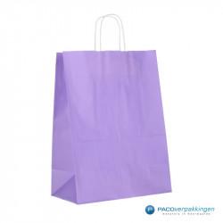 Papieren draagtassen - Lavendel - Gedraaide handgreep - Zijaanzicht achterkant