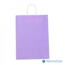 Papieren draagtassen - Lavendel - Gedraaide handgreep - Vooraanzicht