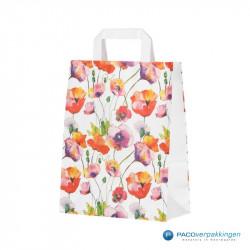 Papieren draagtassen - Flower Dessin - Platte handgreep - Zijaanzicht voor