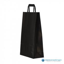 Papieren draagtassen - Zwart Kraft - Platte handgreep - Zijaanzicht voor