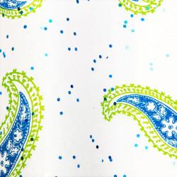 Zijdepapier - Paisley - Blauw en groen op wit - Close-up