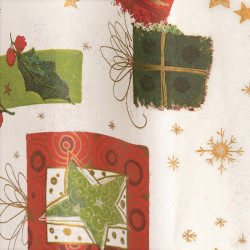 Zijdepapier - Kerst - Groen en rood op wit - Close-up