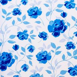 Zijdepapier - Rozen  - Blauw op wit - Close-up