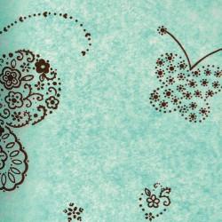 Zijdepapier - Vlinders - Bruin op blauw - Close-up