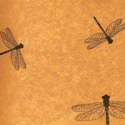Zijdepapier - Libellen - Zwart op bruin - Close-up