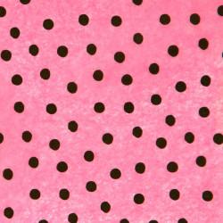 Zijdepapier - Stippen - Zwart op roze - Close-up