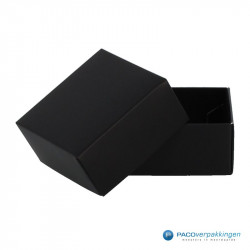 Geschenkdoos met deksel - Zwart Mat (Venetië) - Vooraanzicht open