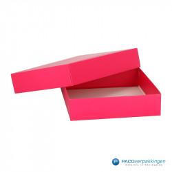 Geschenkdoos met deksel - Fuchsia Mat (Venetië) - Vooraanzicht open