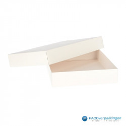 Geschenkdoos met deksel - Wit Mat (Venetië) - Vooraanzicht open