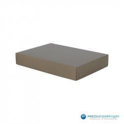 Geschenkdoos met deksel - Taupe Mat (Venetië) - Zijaanzicht dicht
