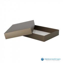 Geschenkdoos met deksel - Taupe Mat (Venetië) - Zijaanzicht open