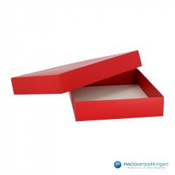 Geschenkdoos met deksel - Rood Mat (Venetië) - Vooraanzicht open