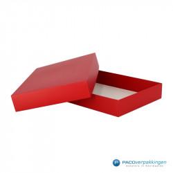 Geschenkdoos met deksel - Rood Mat (Venetië) - Zijaanzicht open