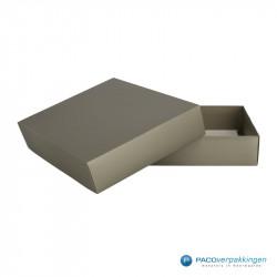 Geschenkdoos met deksel - Taupe Mat (Venetië) - Vooraanzicht open