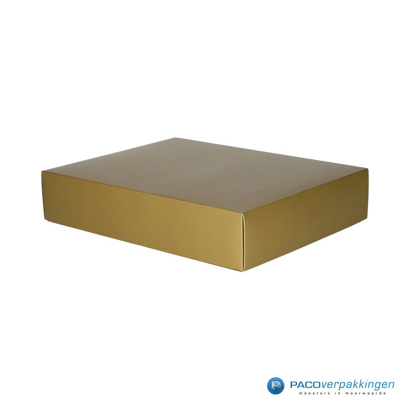 Geschenkdoos met deksel - Goud mat (Venetië) - Zijaanzicht voor dicht