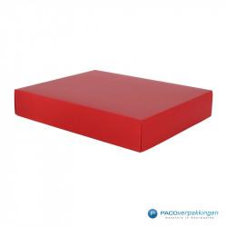 Geschenkdoos met deksel - Rood Mat (Venetië) - Zijaanzicht dicht