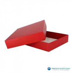 Geschenkdoos met deksel - Rood Mat (Venetië) - Zijaanzicht voor open