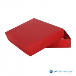 Geschenkdoos met deksel - Rood Mat (Venetië) - Zijaanzicht achter open