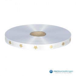 Satijn lint - STERREN - Wit opdruk goud - Vooraanzicht