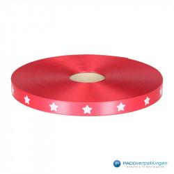 Satijn lint - STERREN - Rood opdruk wit - Vooraanzicht